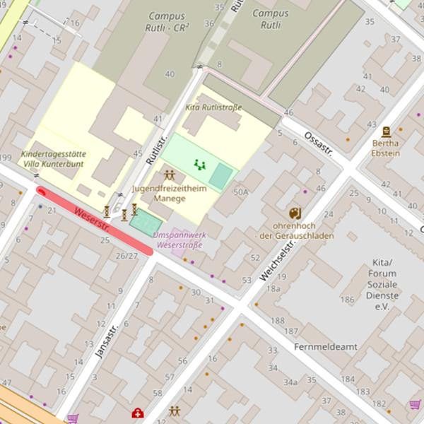 Kartenausschnitt mit dem markierten Bereich für den vorgeschlagenen modalen Filter auf der Weserstraße zwischen Jansastraße und Tellstraße